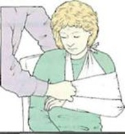 Then strap the arm to the body with a piece of wide material around arm and chest.